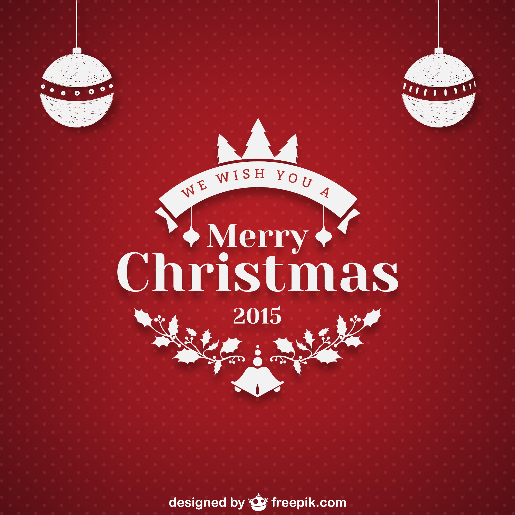 Christmas greeting with red dotted background