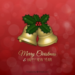 Christmas greetings card with golden bells