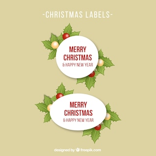 Christmas labels with holly leaves