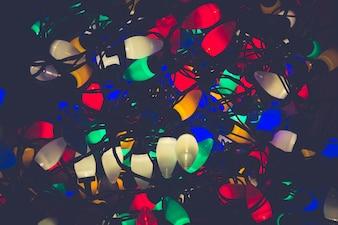 クリスマスライトが一緒に背景を巻き起こした