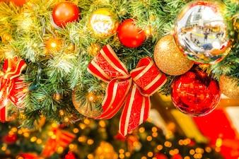 Christmas ornament with a bow and christmas balls