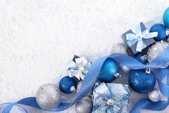 Christmas ornaments with a blue ribbon