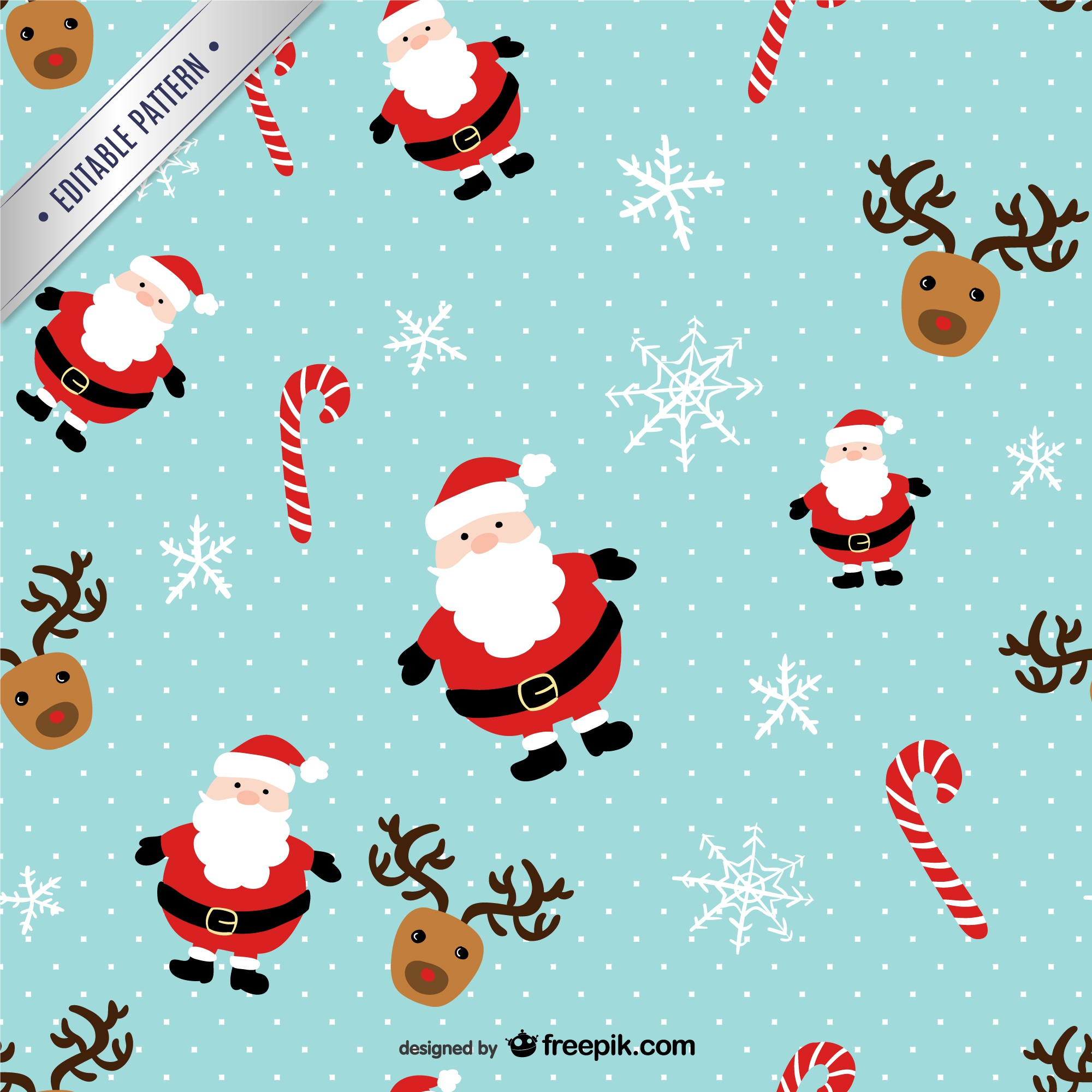 Christmas pattern with Santa Claus and reindeers