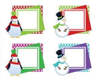 Christmas photo frames with a snowman in different colors