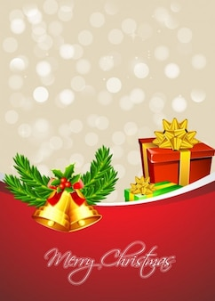 Christmas presents with golden bells