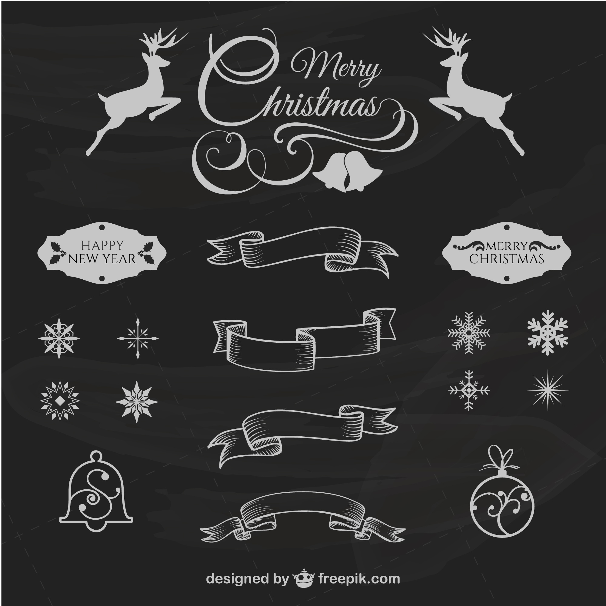 Christmas retro design elements