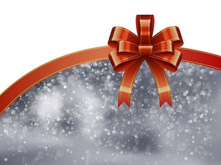 Christmas ribbon with bokeh background