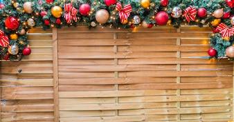 Christmas rope with christmas balls and christmas motifs