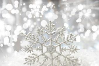 Christmas snowflake with bokeh lights