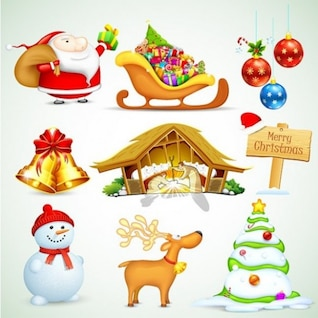 Christmas stlyish design elements vector set