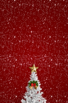 Christmas tree on a red background with stars