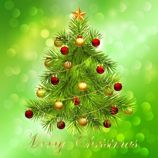 christmas tree on green bokeh background