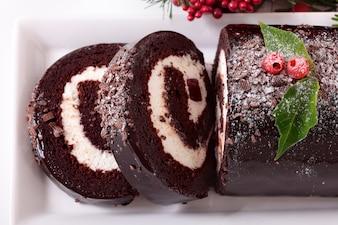 Christmas yule cake close up