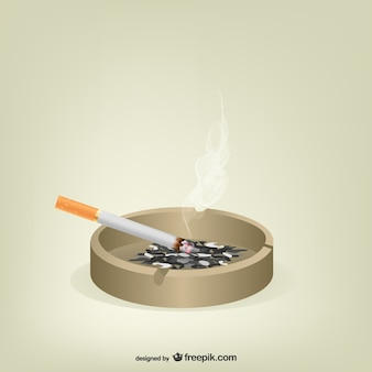 Cigarette in ashtray vector