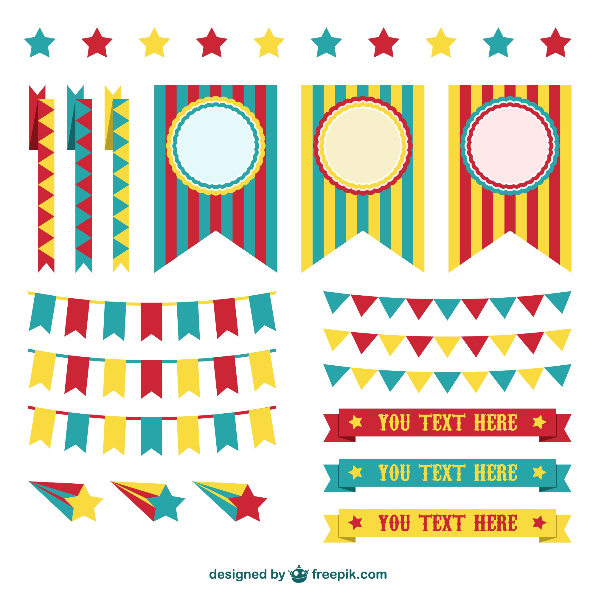 Circus decorations graphic elements