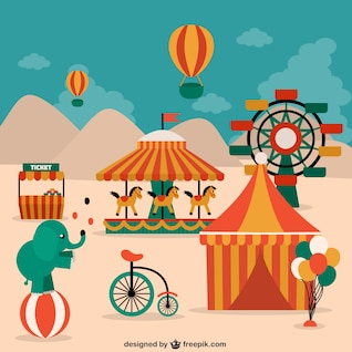 Circus elements, animals and decorations
