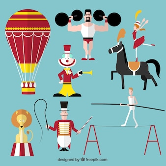 Circus performance icons