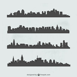 Cities silhouette vector set