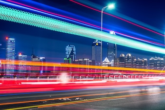 City Bridge and car track, night view, Nanchang, China