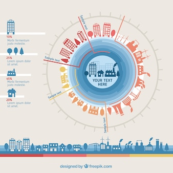 City buildings infographic