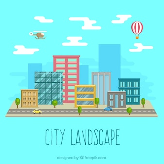 City landscape in flat design