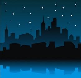 City skyline  with starry sky