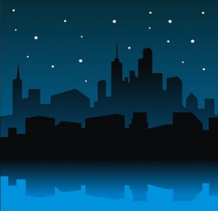 City skyline  with starry sky