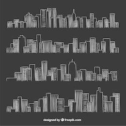 City skyline in blackboard style