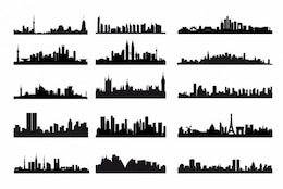 City skyline silhouettes vector kit