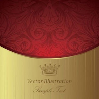 classic background with red vintage part and gold one
