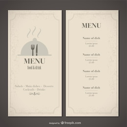 Classic food menu template