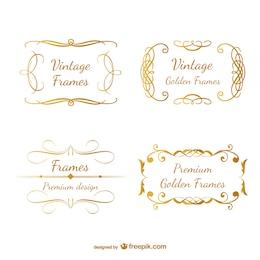 Classic gold retro frames swirl design