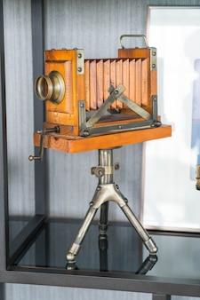 Classic retro camera on tripod