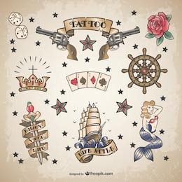 Classic sailor tattoo set