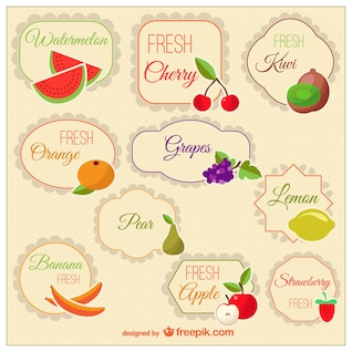 Classic tags of fruit