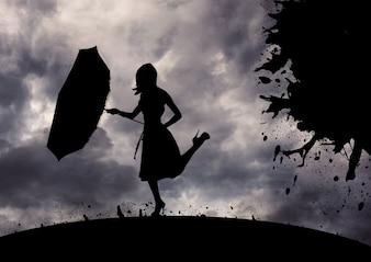 高級感のある黒い髪勾配嵐のブロブ