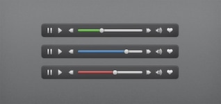 clean audio video ui controls psd