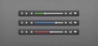 clean audio video ui controls psd