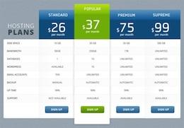 clean modern  column pricing table psd