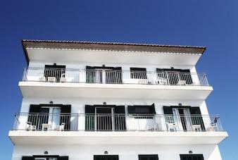 Clean white facade
