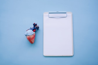 Clipboard and realistic heart