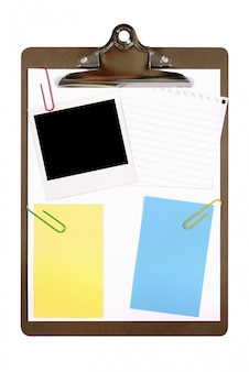 Clipboard with polaroid photo