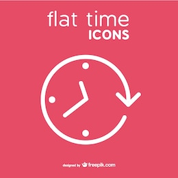 Clock vector icon flat style