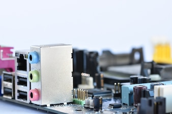 Close-up computer motherboard