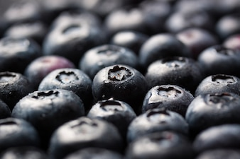 Close-up of a bunch of ripe blueberries