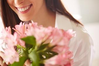 新鮮な花束のクローズアップ