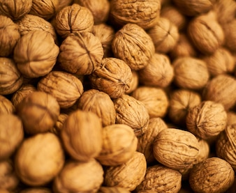 Close-up of a pile of walnuts