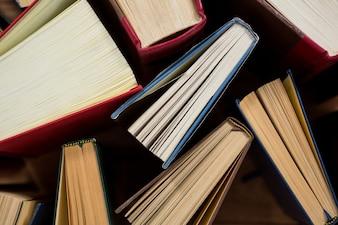 Close-up of books arranged