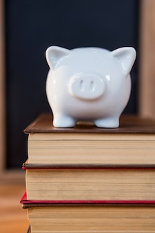 Close-up of books stack with a piggy bank