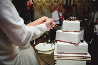 Close-up of bride and groom cutting cake